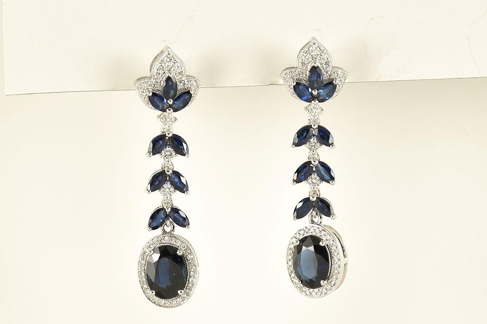 Natural Sapphire Diamond Dangling Earrings