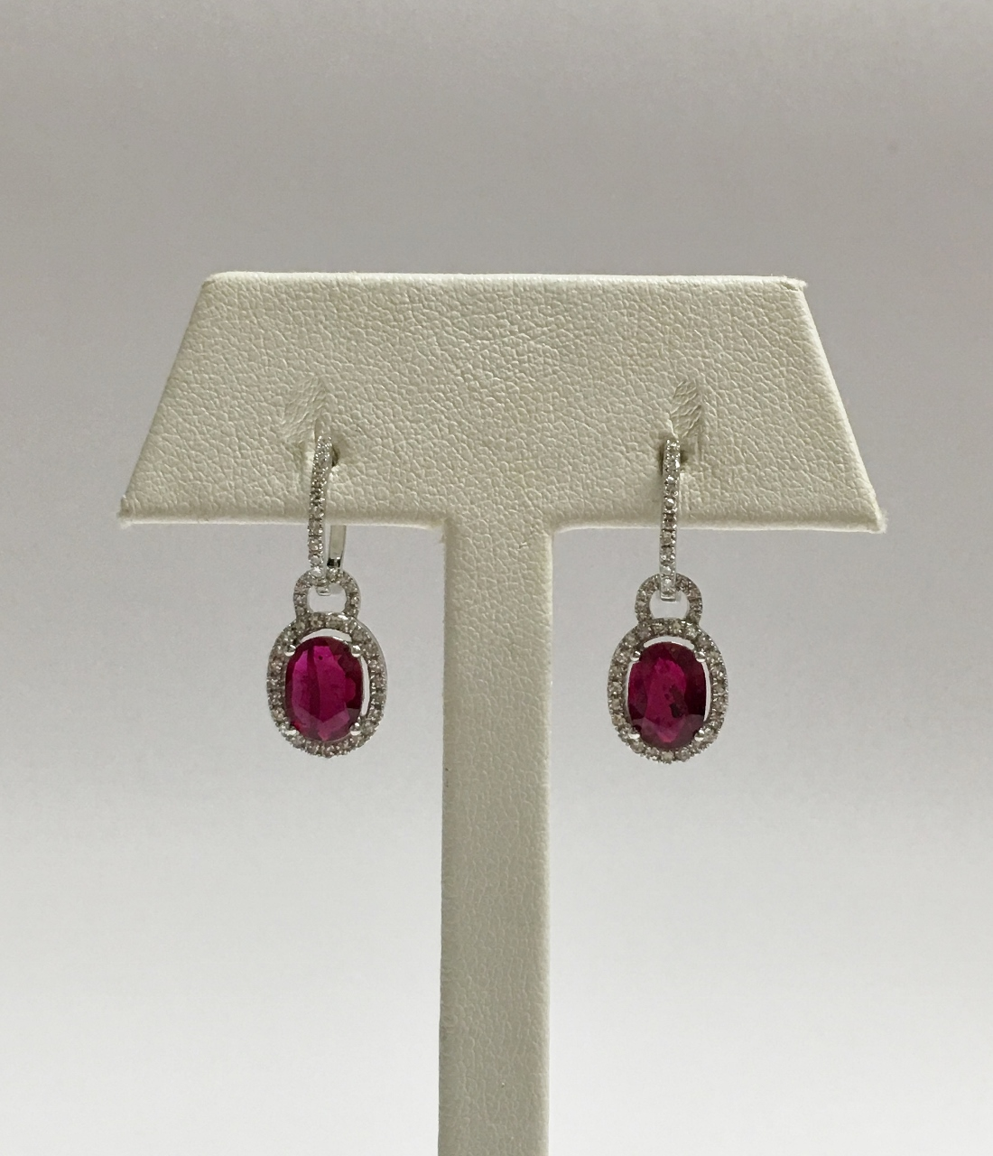18K White Gold Dangling 2 Carats Natural Ruby Diamond Earrings