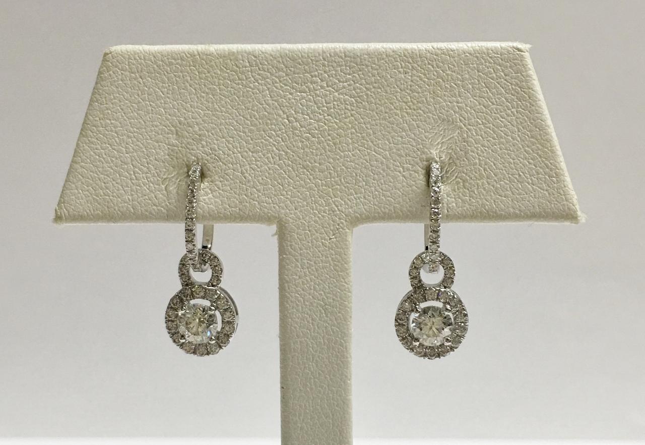 18K White Gold 1.20 Carats TW Diamond Earrings