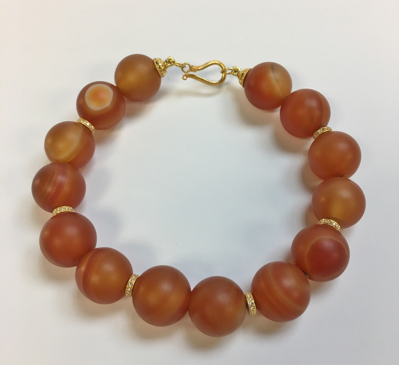 Carnelian Beads Bracelet with 18K Yellow Gold Clasp