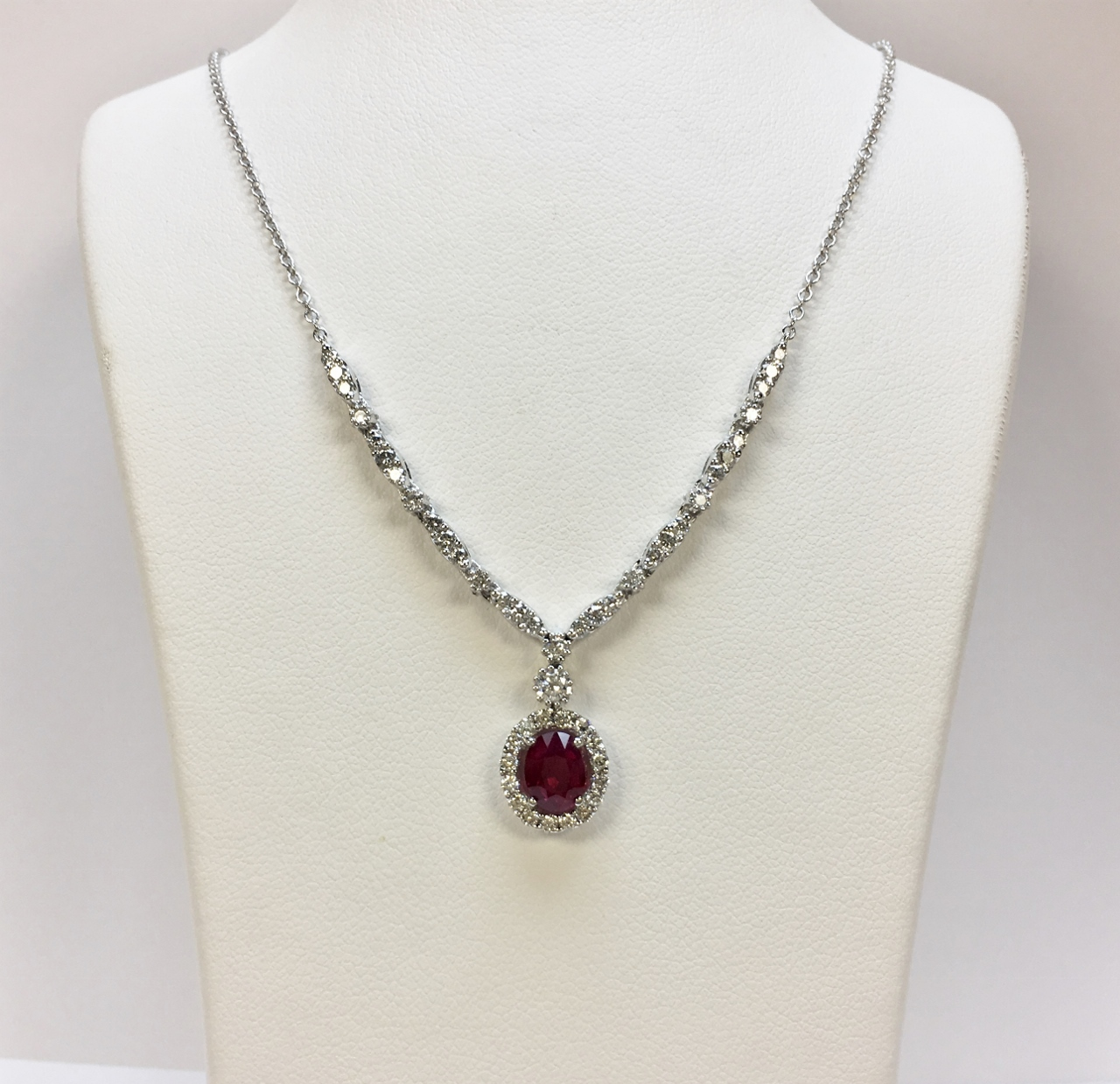 Natural Ruby Diamond Necklace