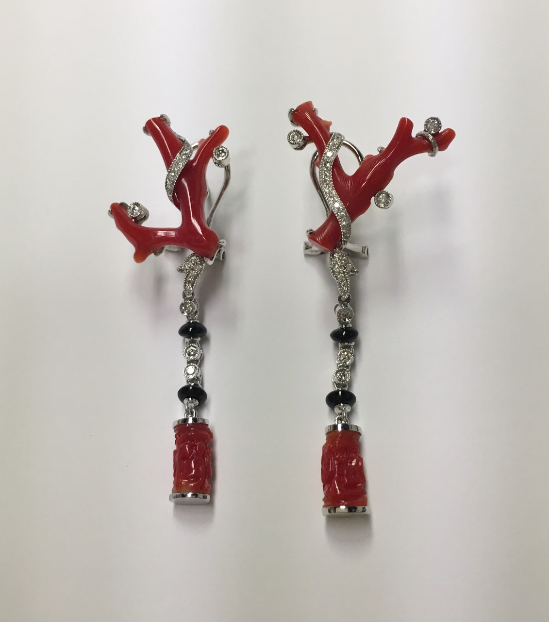Coral & Onyx Diamond Earrings