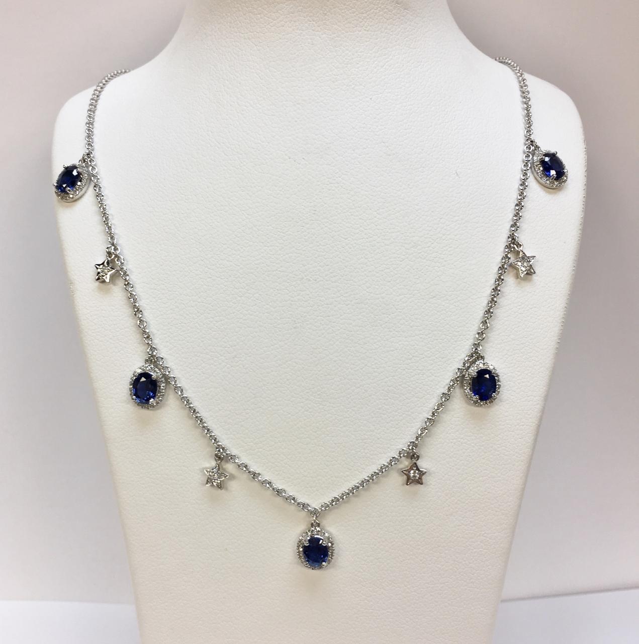 Cute Sapphire Diamond Necklace