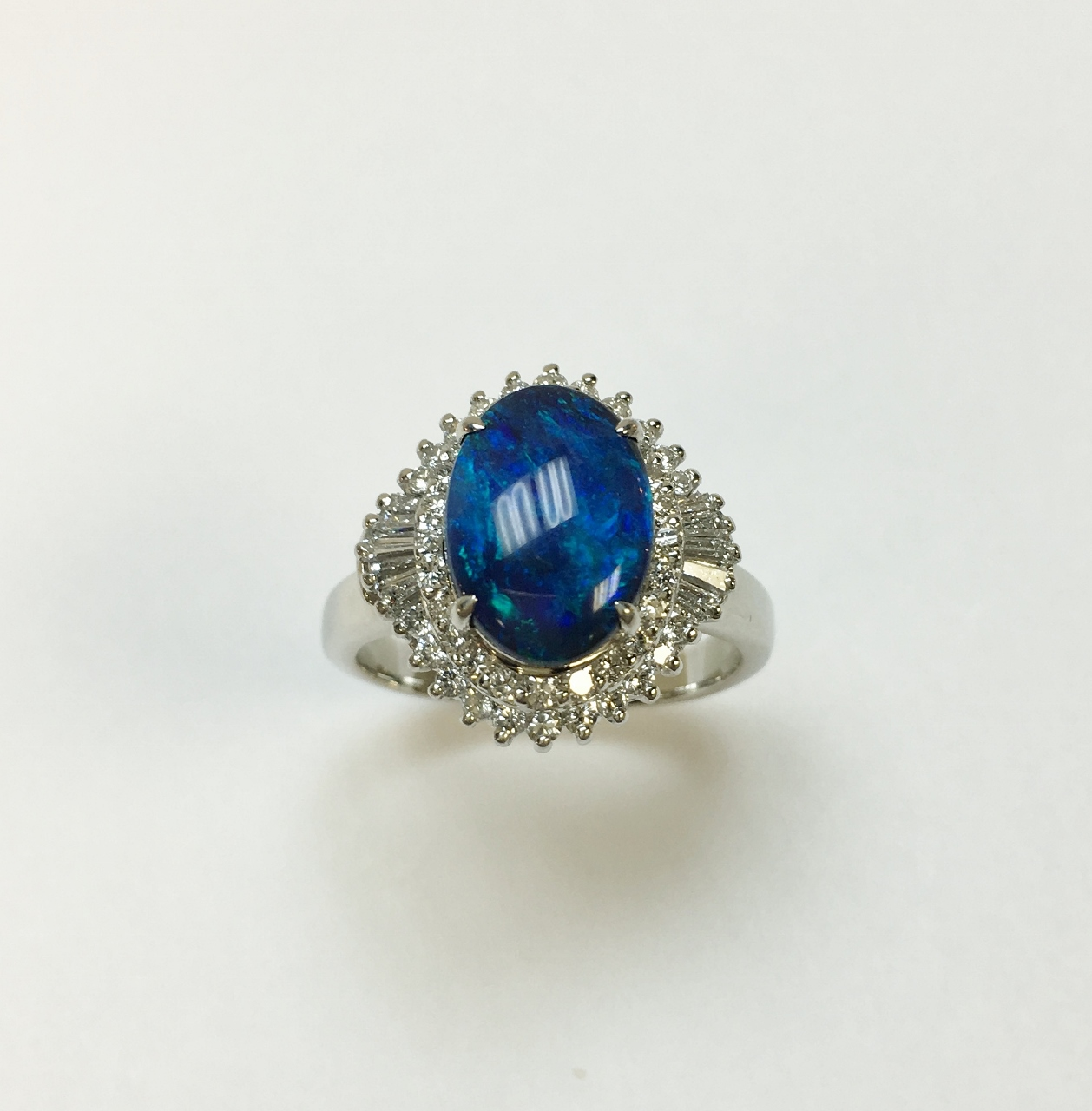 Platinum Black Opal Diamond Ring