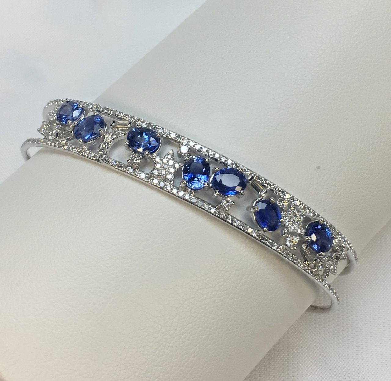 Stars & Moon Sapphire Diamond Bangle