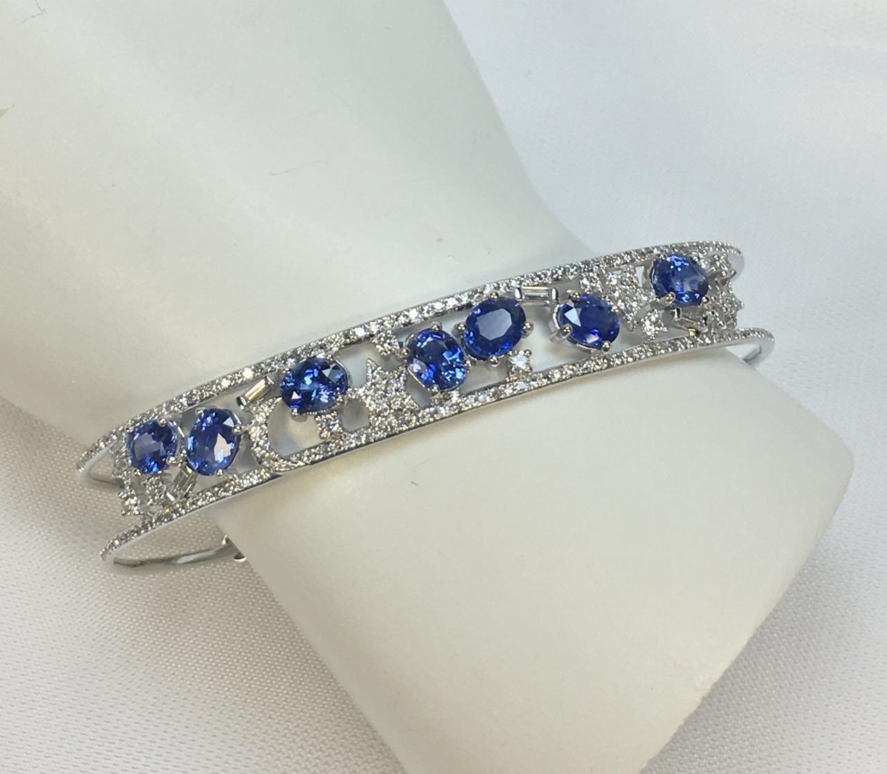 Stars & Moon Sapphire Diamond Bangle