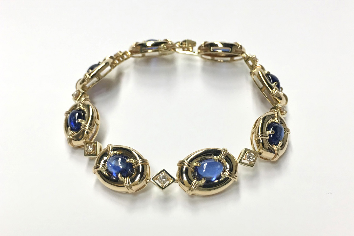 An Estate Yellow Gold Bracelet With Kyanites