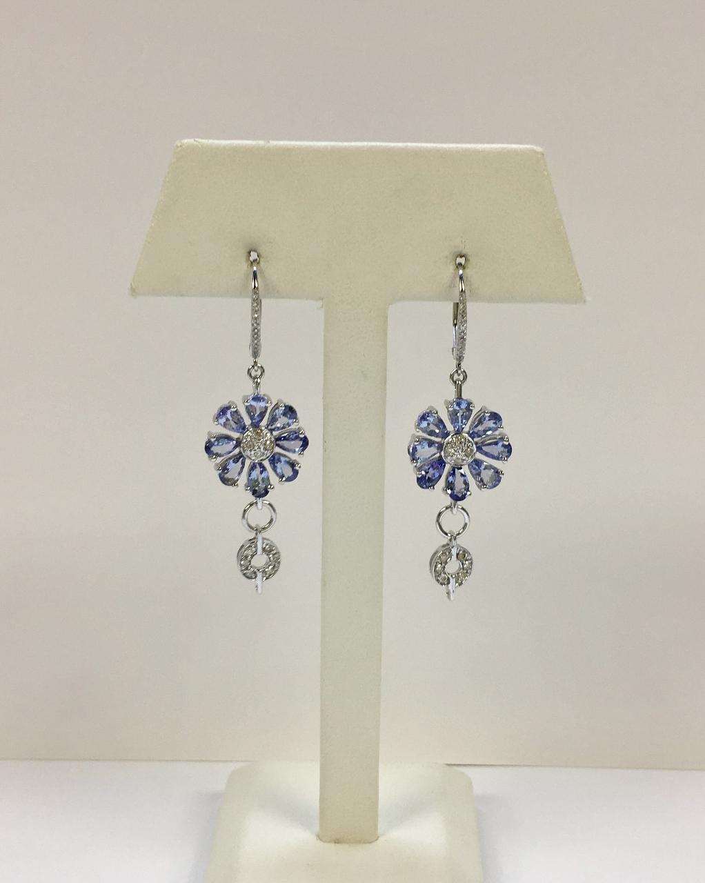 Over 2 Carats Tanzanite Diamond Dangling Earrings