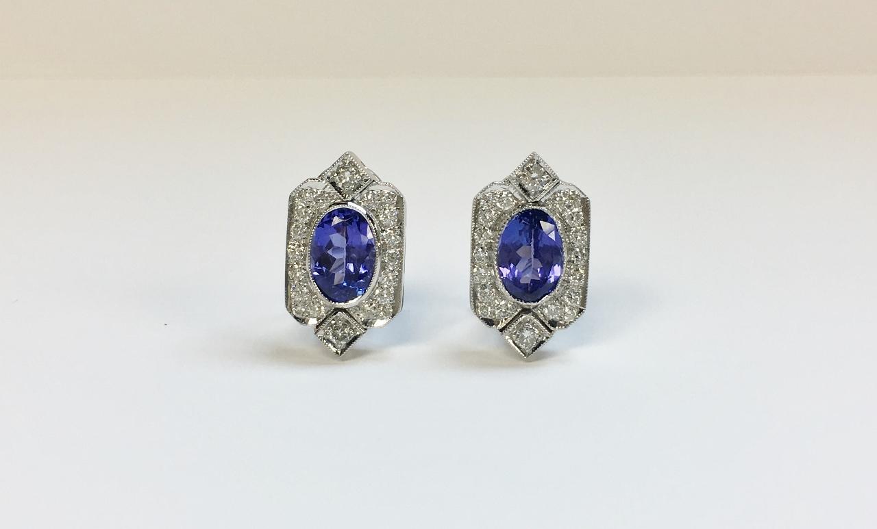 4 Carats Tanzanite Diamond Earrings