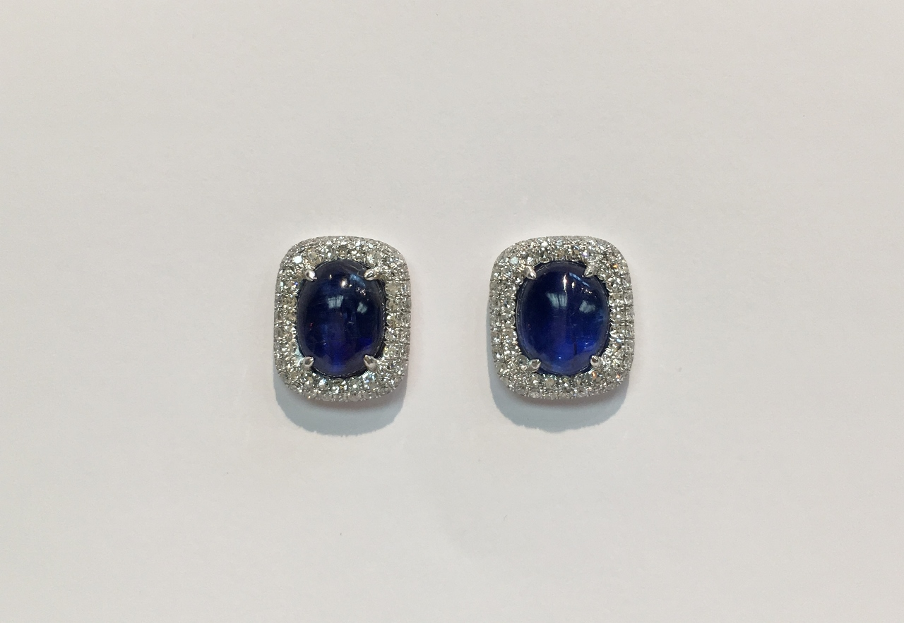 Almost 7 Carats Cabochon Kyanite & Diamond Earrings