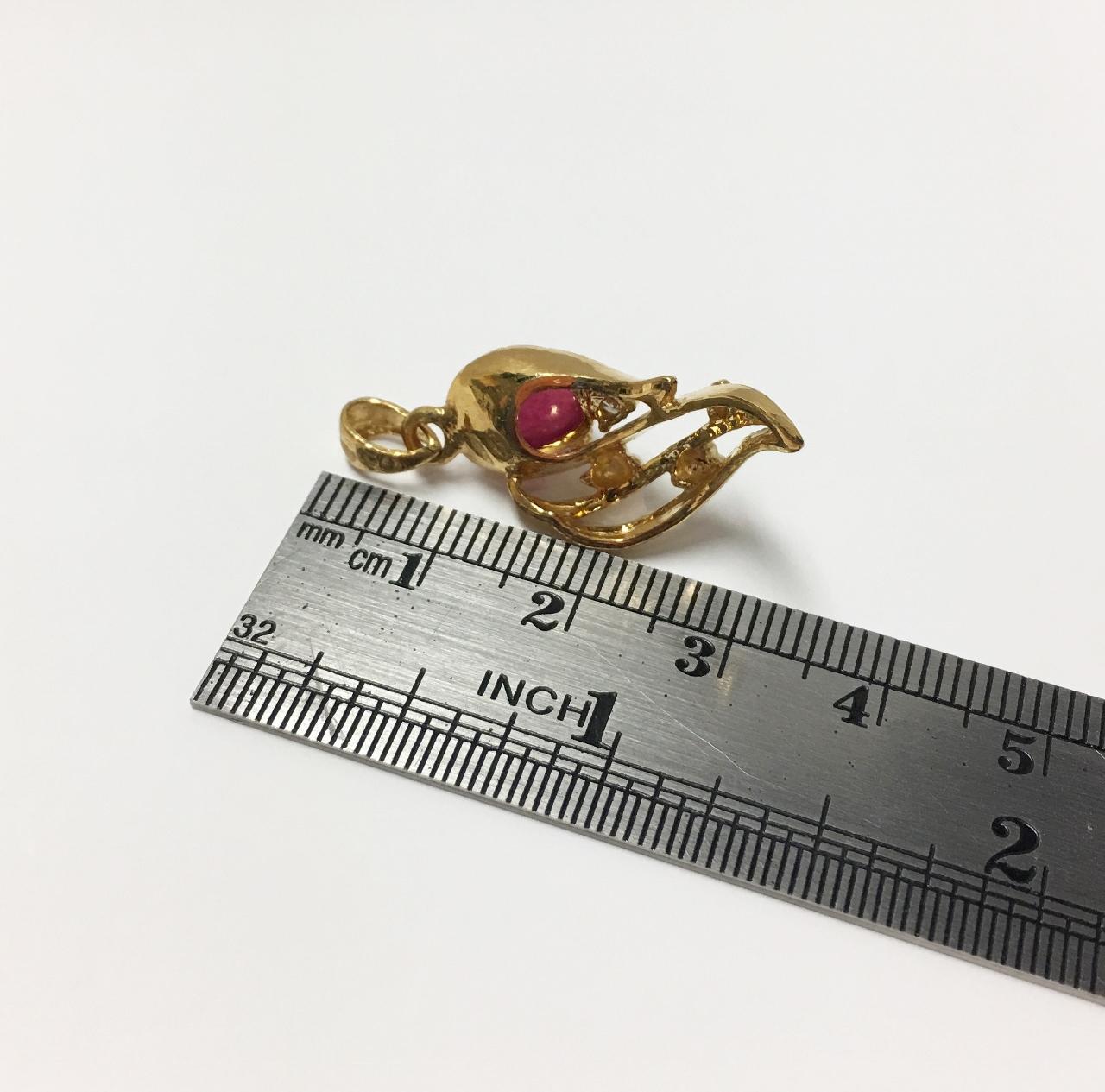 22K Yellow Gold Ruby Pendant