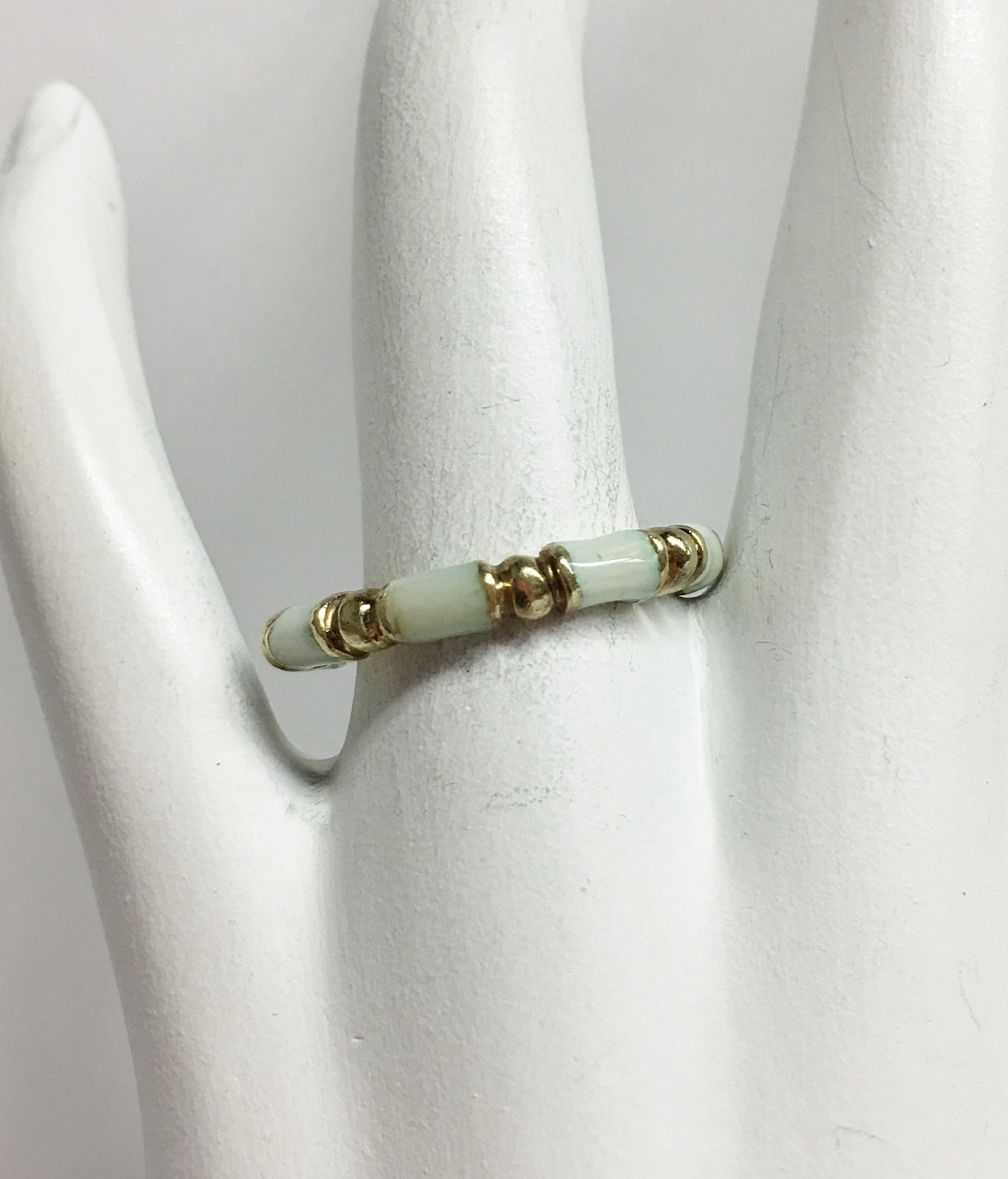 14K Yellow Gold Enamel Stacking Ring