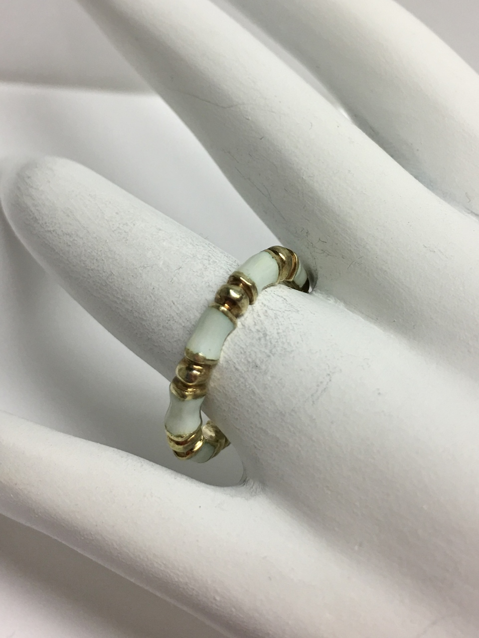 14K Yellow Gold Enamel Stacking Ring
