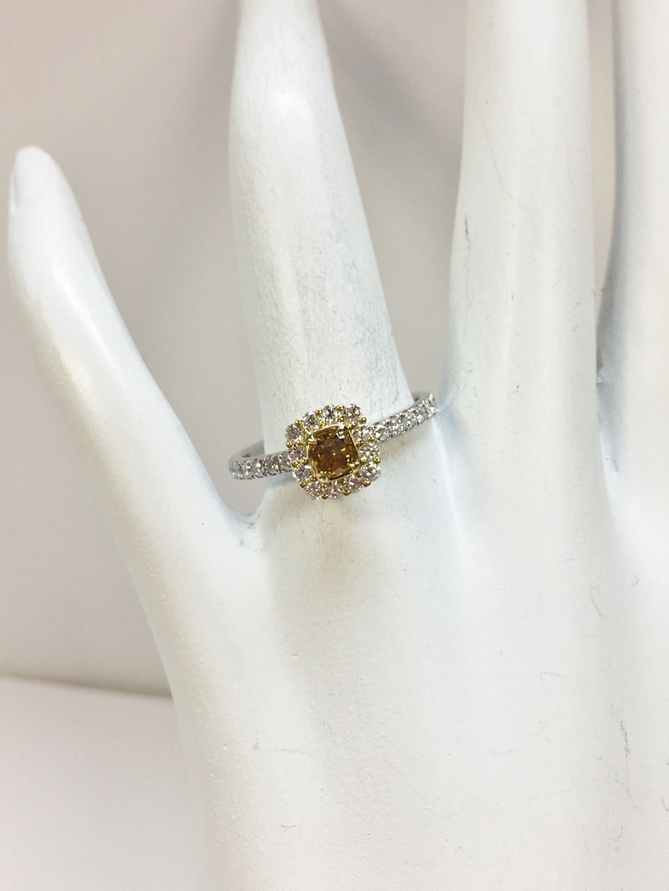 Half Total Weigh Cognac & White Diamond Ring
