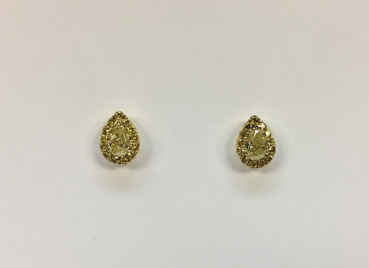 Pear Shape Yellow Diamond Earrings