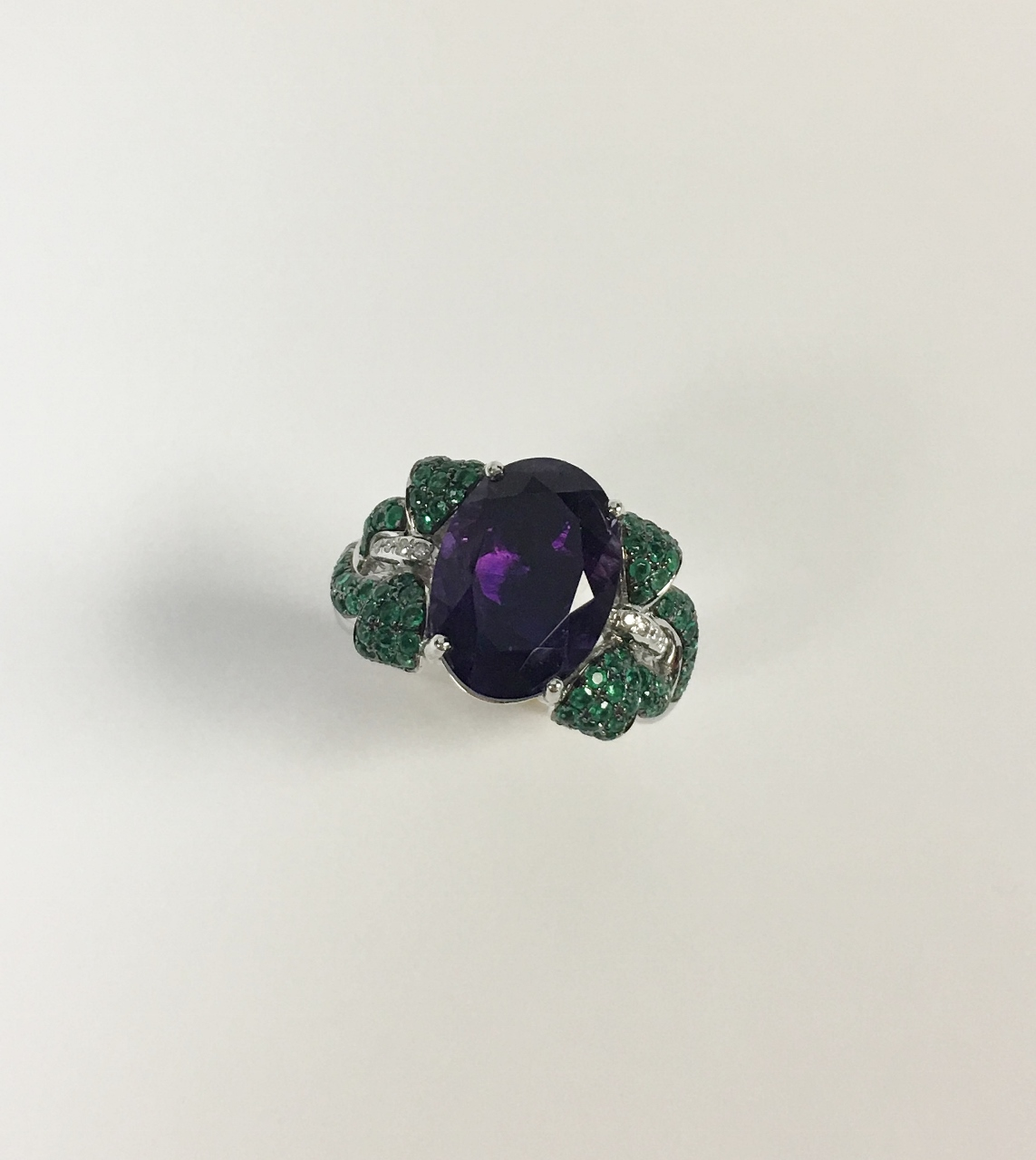 White Gold Amethyst Ring With Emeralds