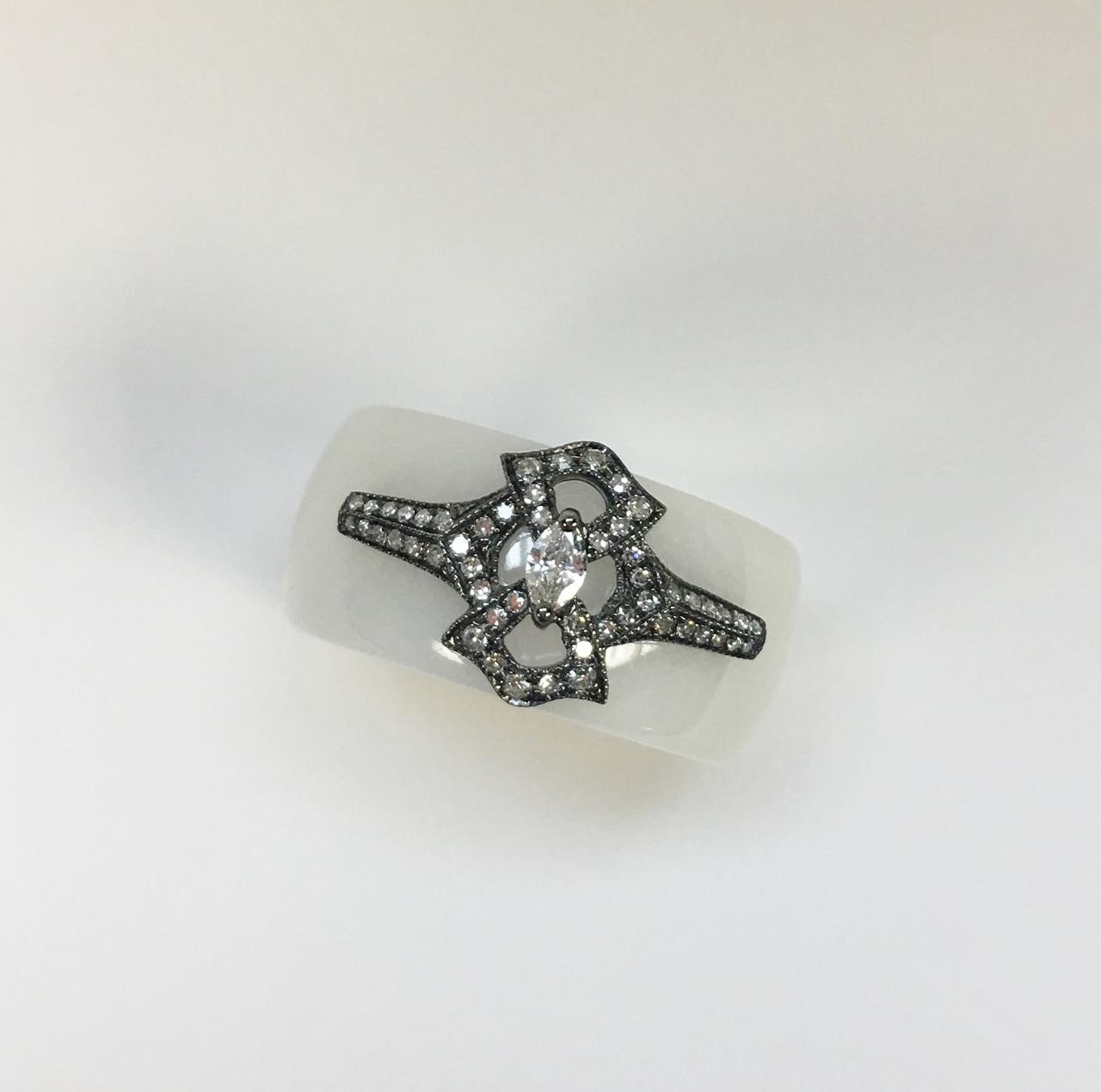 White Jade Diamond Ring