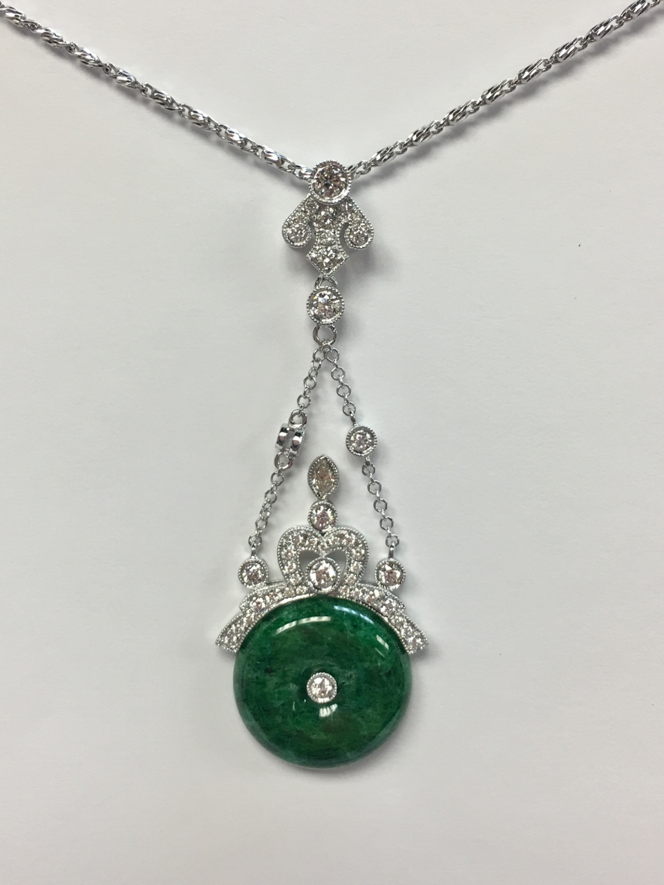 18K White Gold Dangling Jade & Diamond Pendant