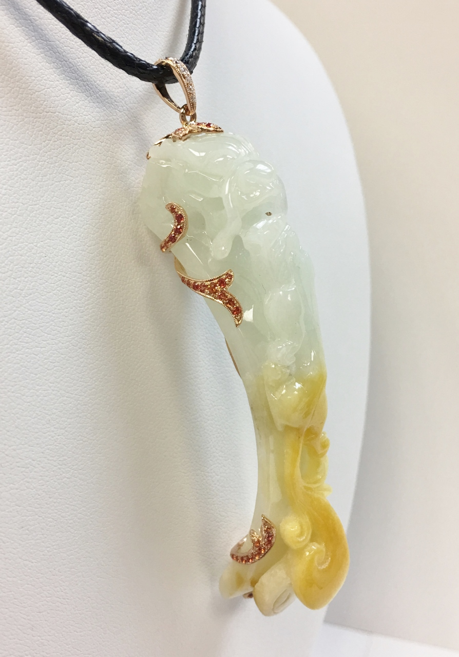 Yellow & Green Jade Dragon Pendant