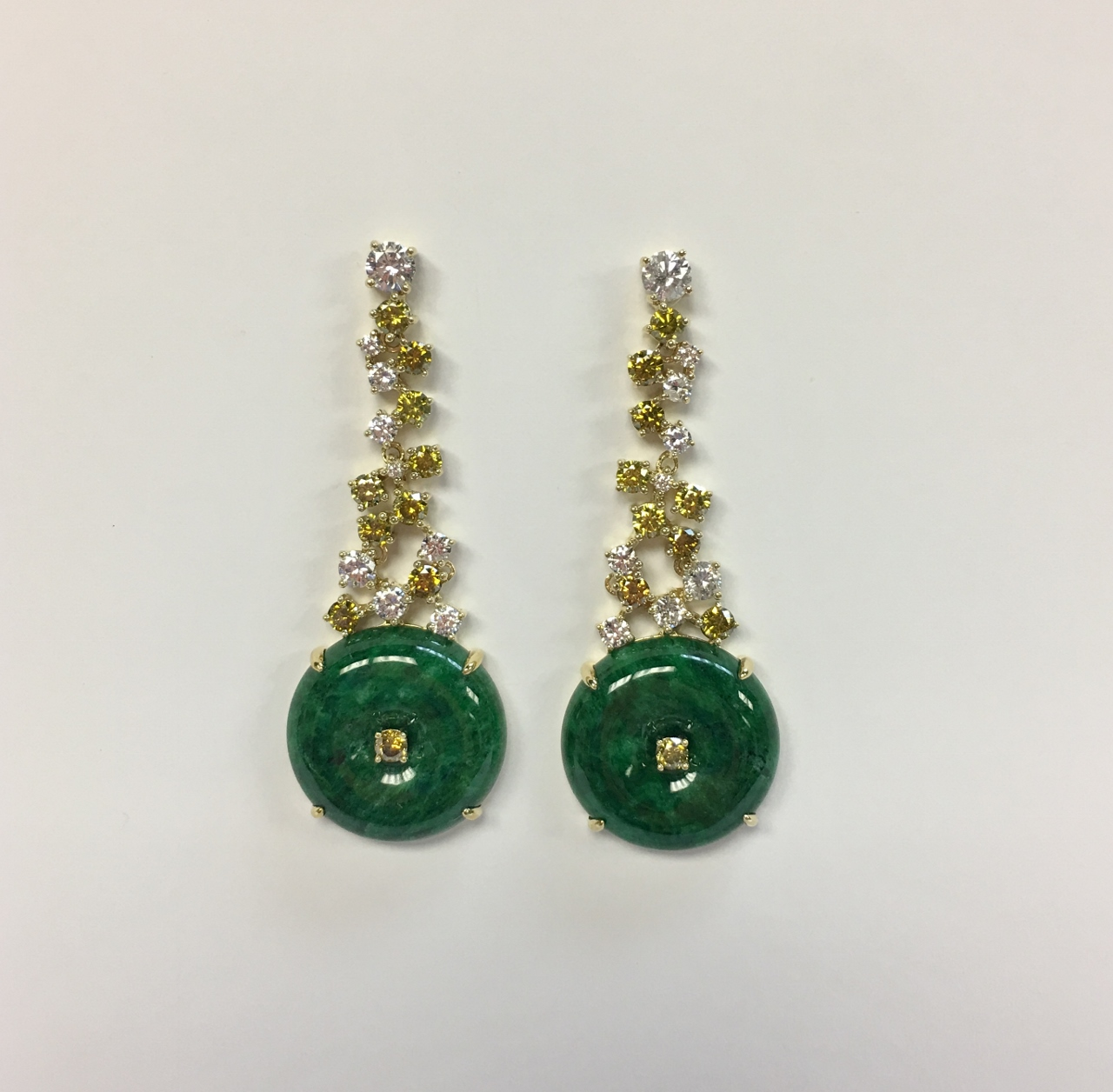 Green Jade Dangling Earrings With Diamonds