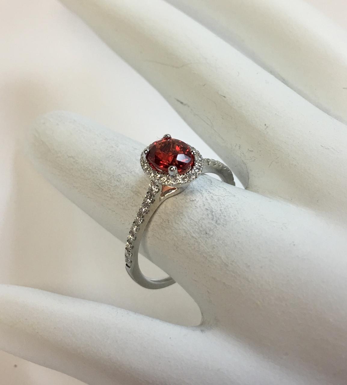 1 Carat Orange Sapphire Ring