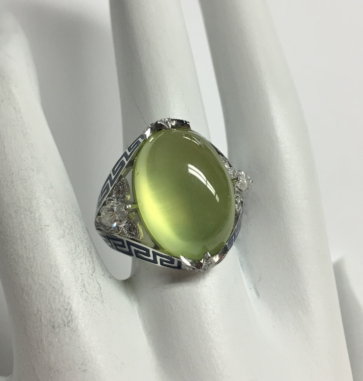 13.50 Carats Prehnite White Gold Ring