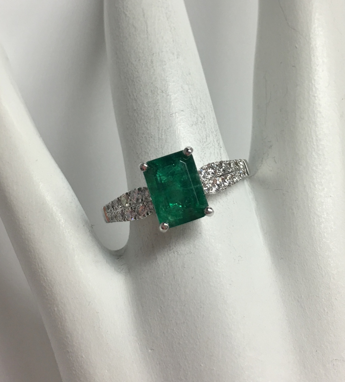Over 1.50 Carats Emerald & Diamond Ring