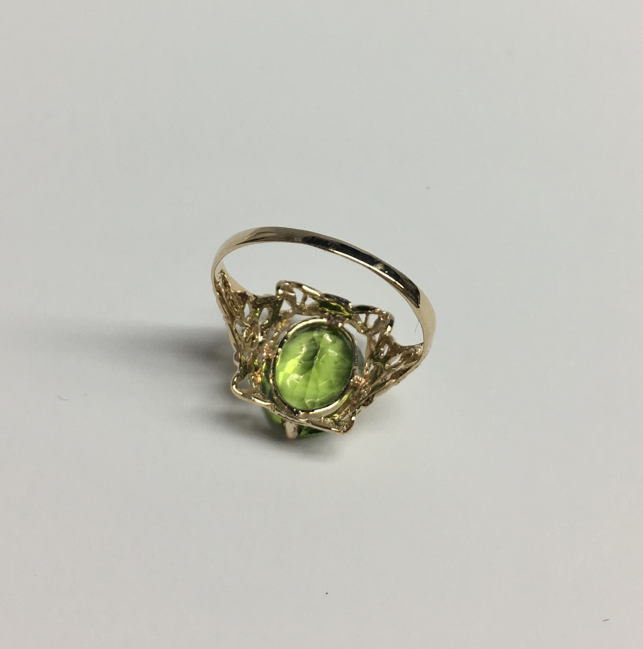 Antique Style Peridot Yellow Gold Ring