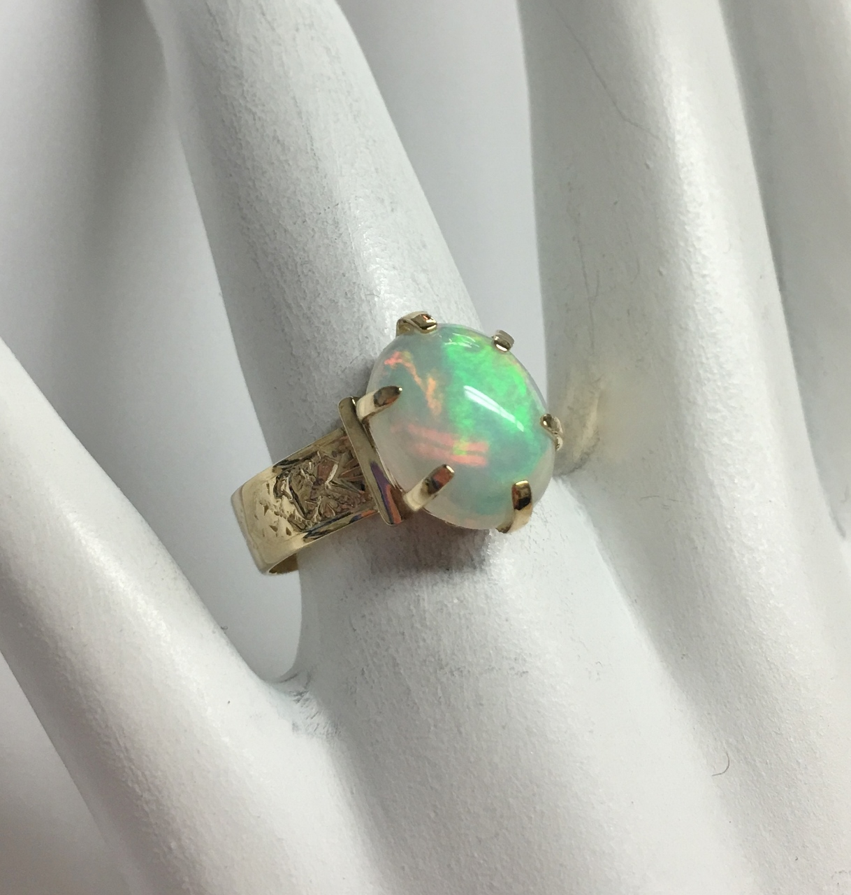 Antique Style Opal Yellow Gold Ring