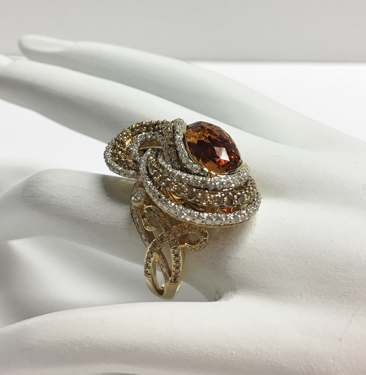 Over 7.5 Carats Citrine & Diamond Ring