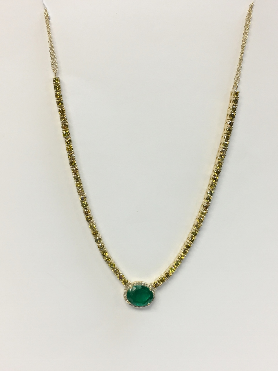 2 Carats Emerald & Yellow Diamond Necklace