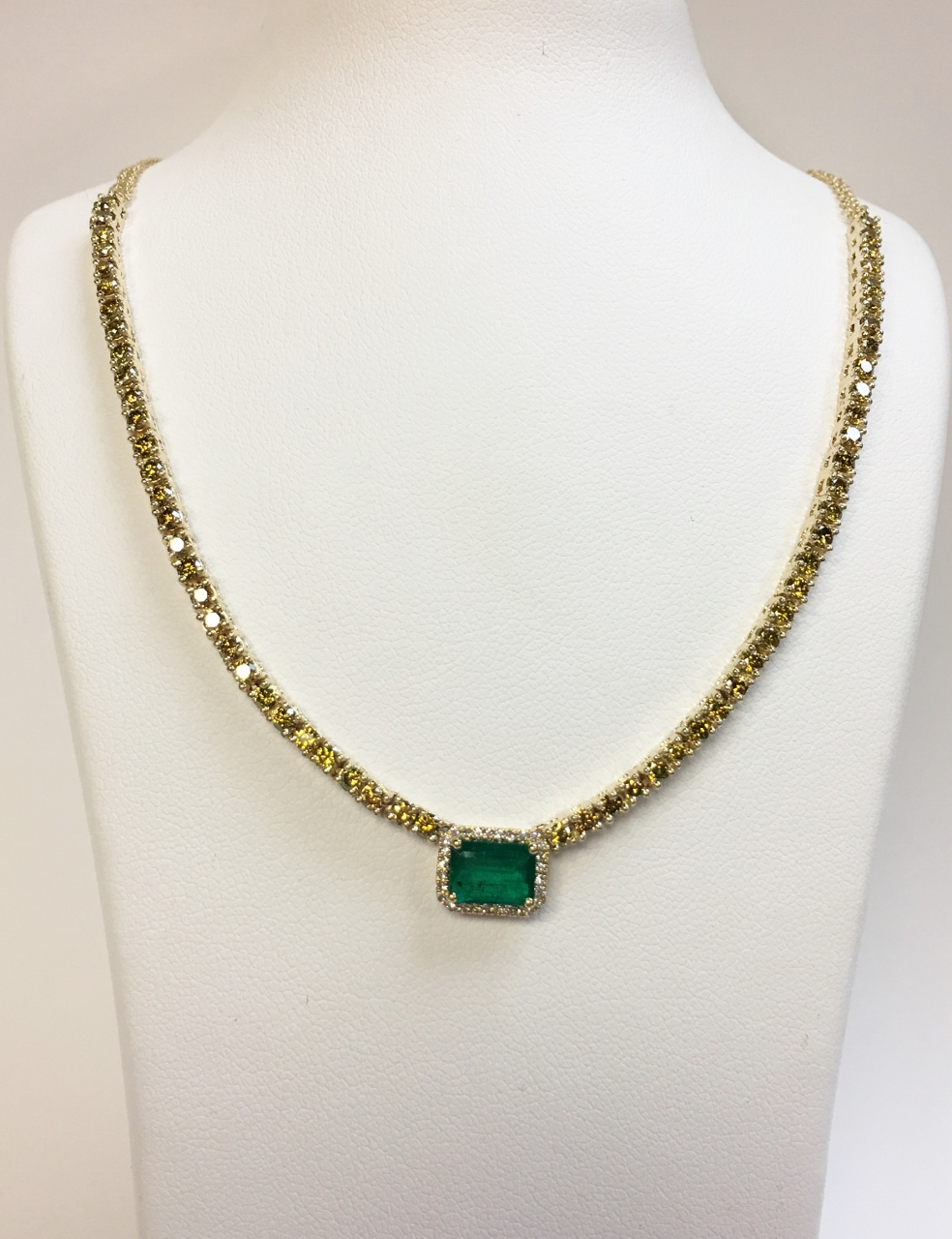 Emerald & Fancy Yellow Diamond Necklace