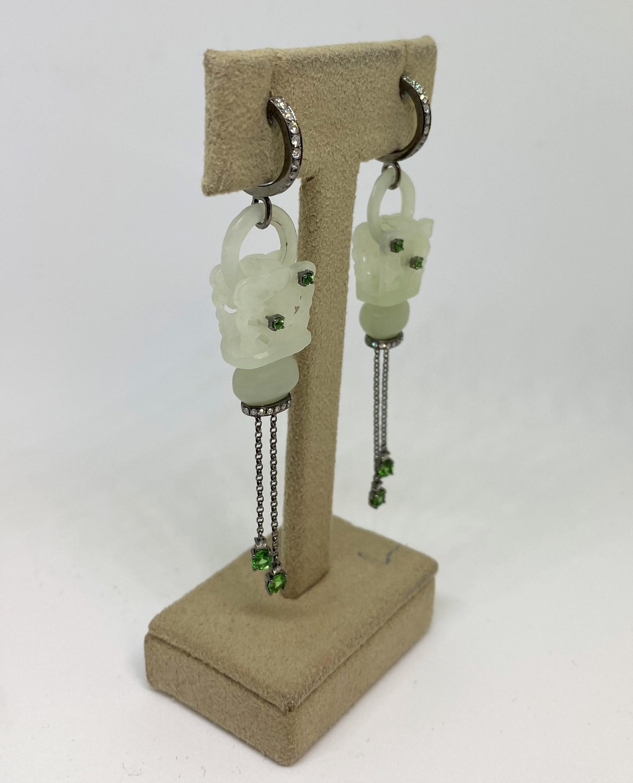 Natural Jade Dangling Earrings