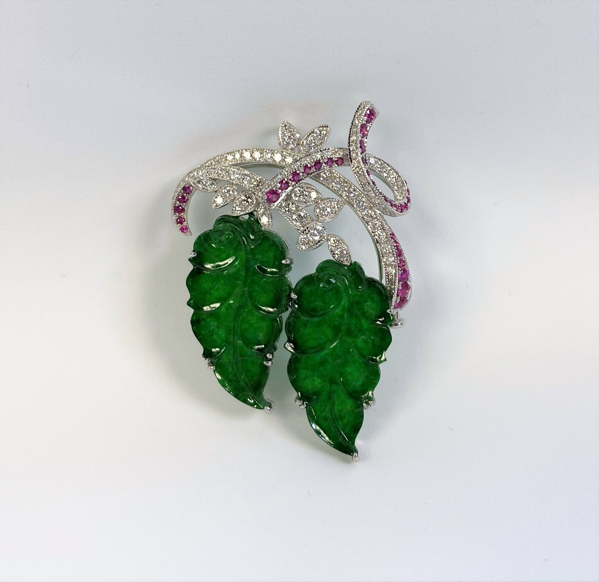 Leaf Design Natural Jade Pendant Brooch