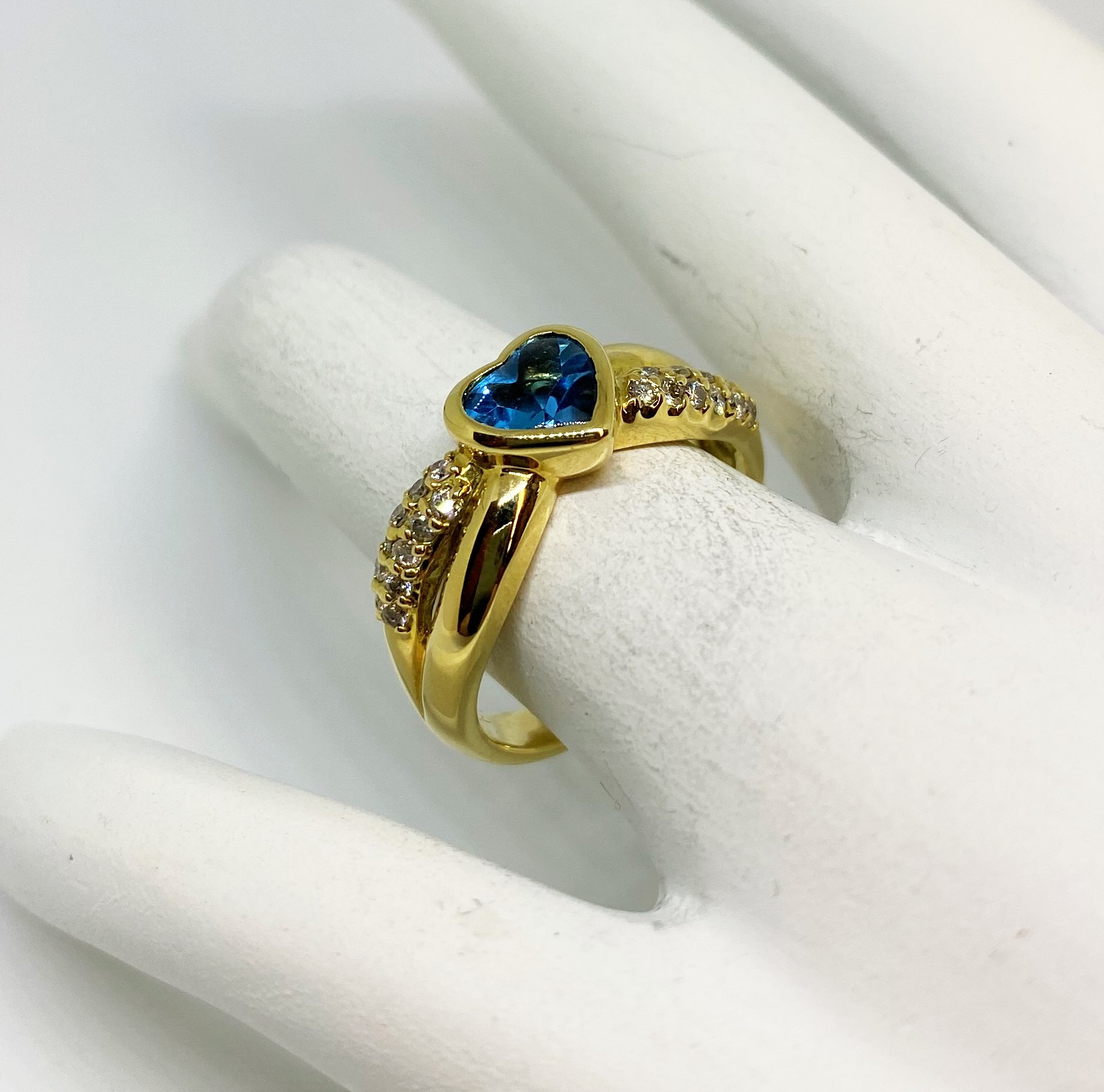 Heart Shape Blue Topaz Yellow Gold Ring