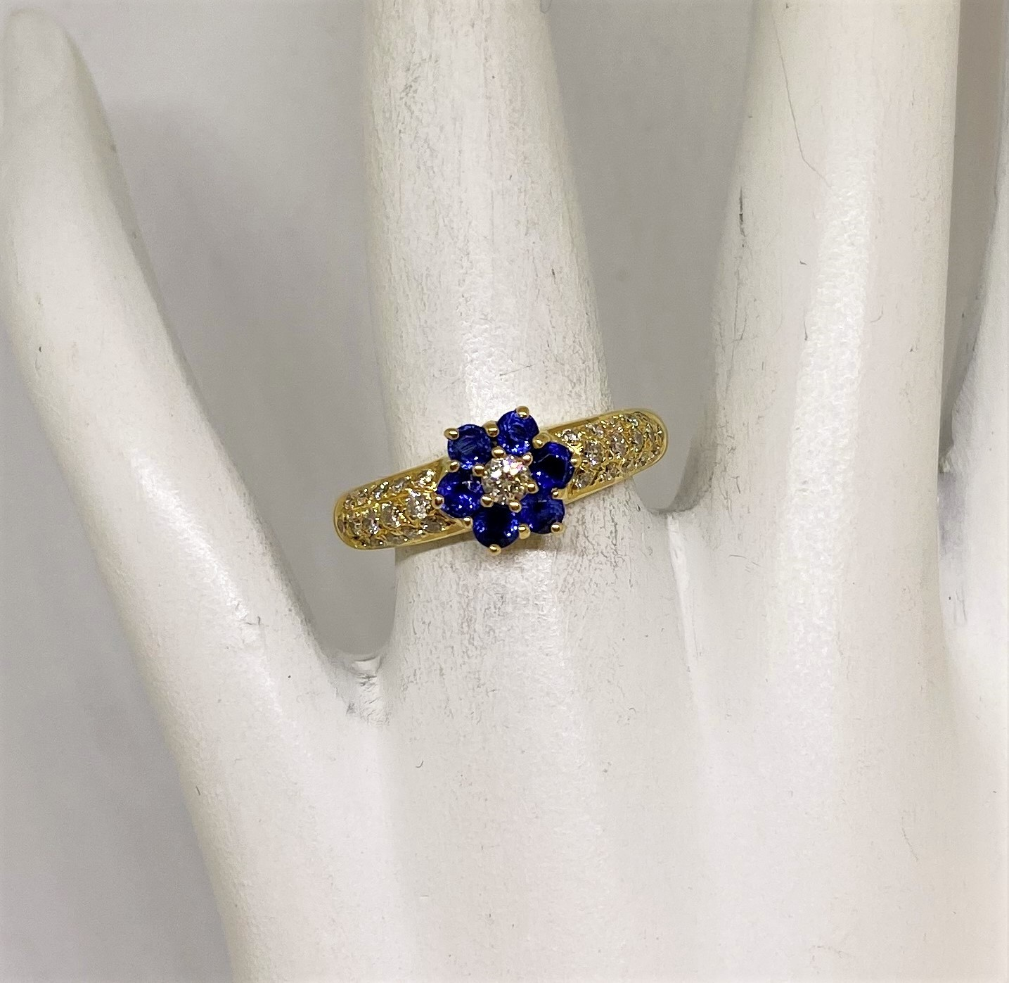 Half Carats Sapphire Diamond Yellow Gold Ring
