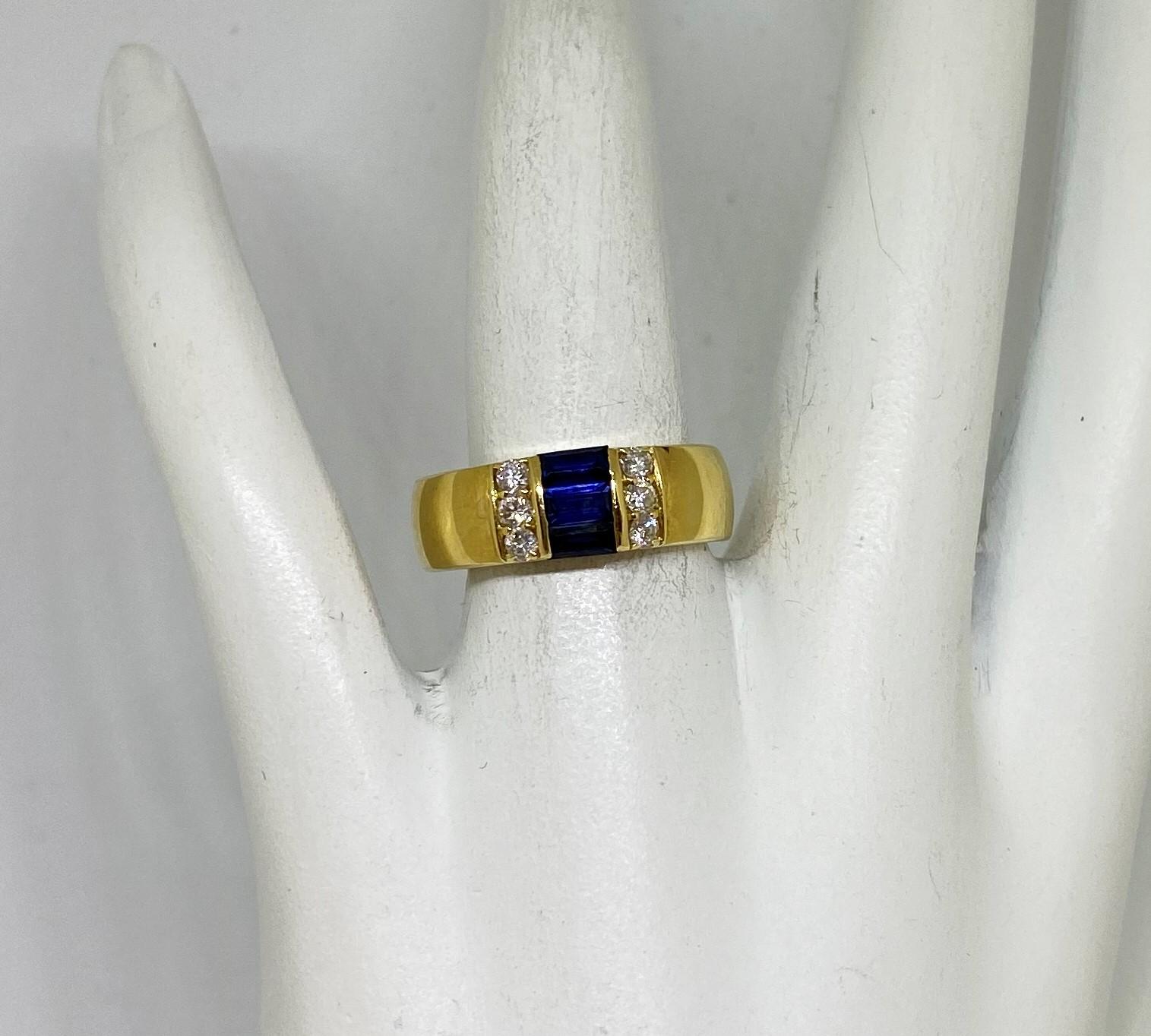 Half Carats Sapphire Diamond Yellow Gold Ring