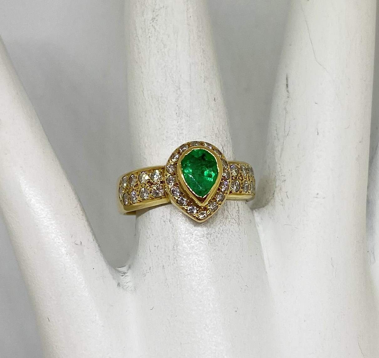 Half Carats Emerald Diamond Yellow Gold Ring