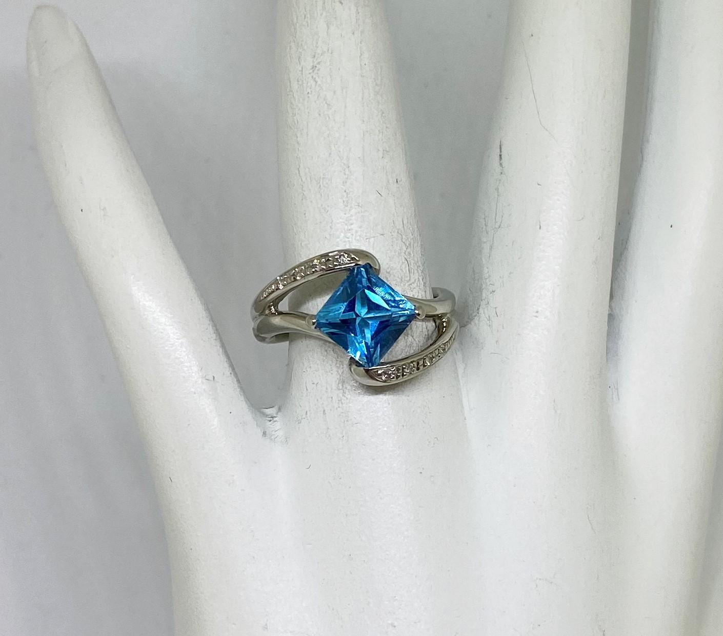 Platinum Topaz Diamond Ring