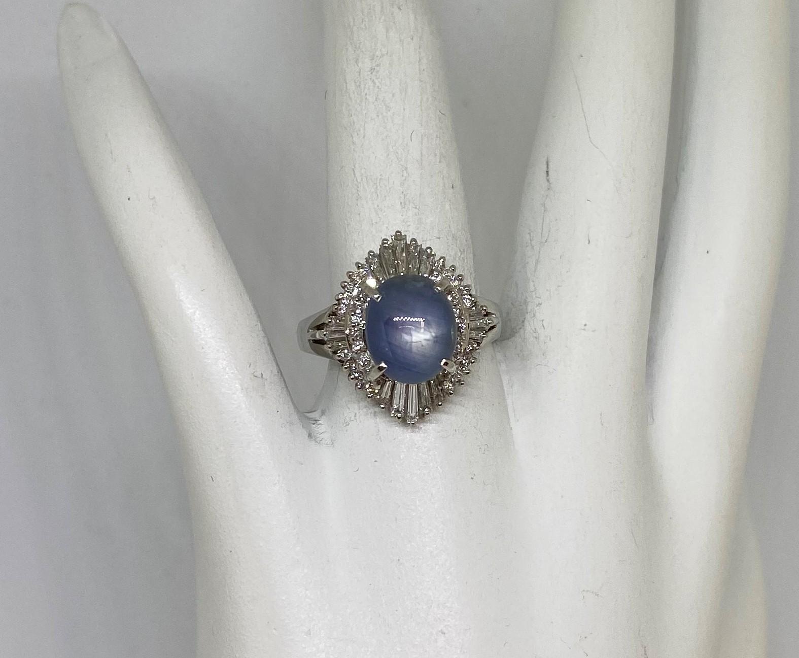 Platinum Star Sapphire Diamond Ring