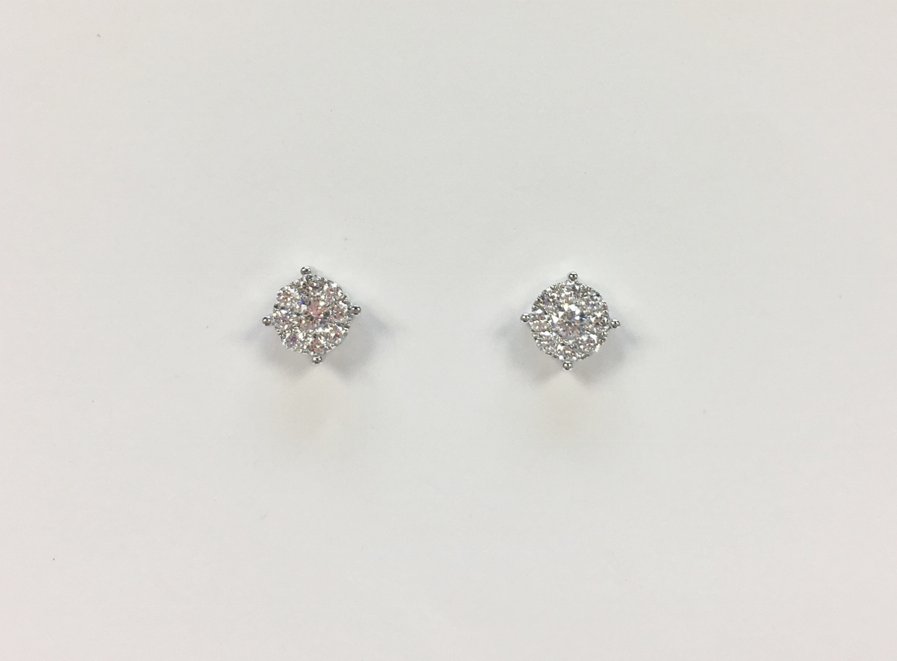 Half Carats Total Weight White Gold Diamond Earrings