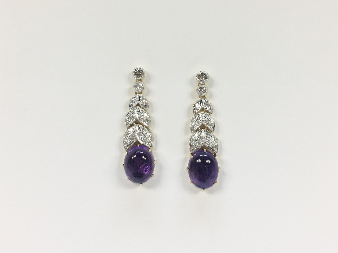 Yellow Gold Dangling Amethyst Diamond Earrings