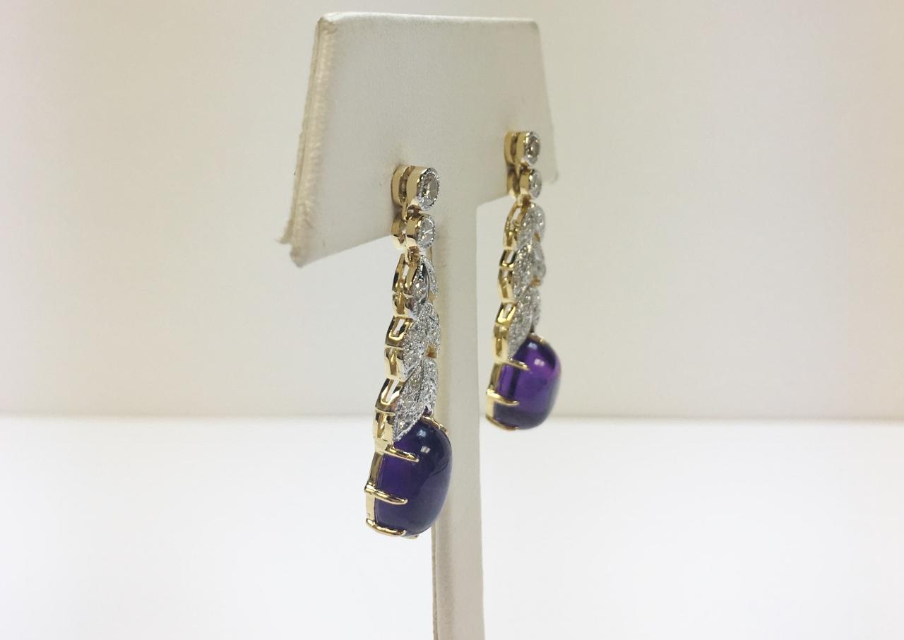 Yellow Gold Dangling Amethyst Diamond Earrings