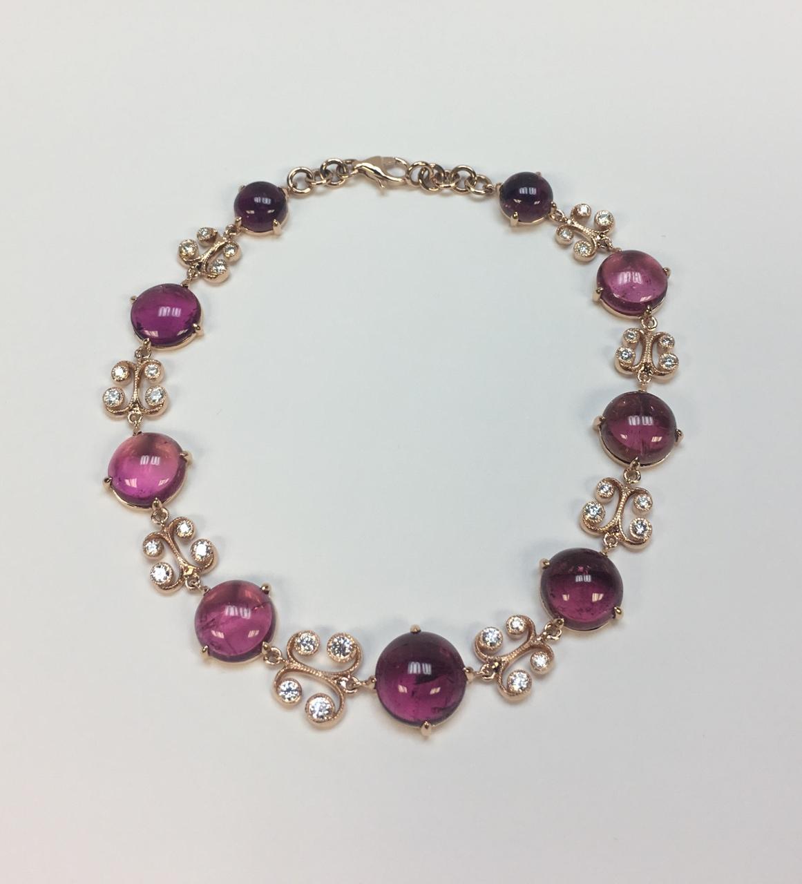 19.40 Carats Pink Tourmaline Rose Gold Bracelet