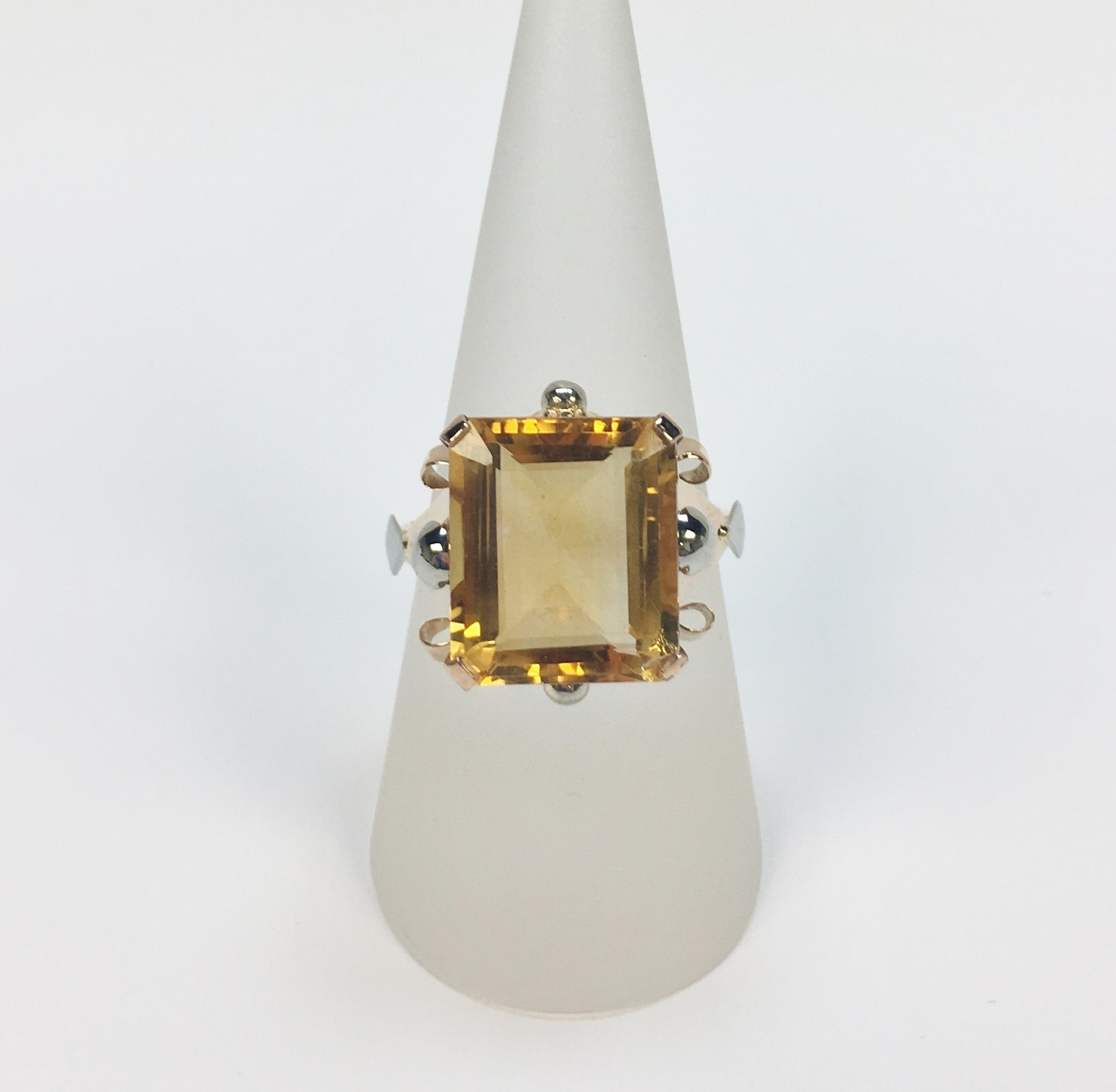 Over 8.5 Carats Citrine Rose Gold Ring