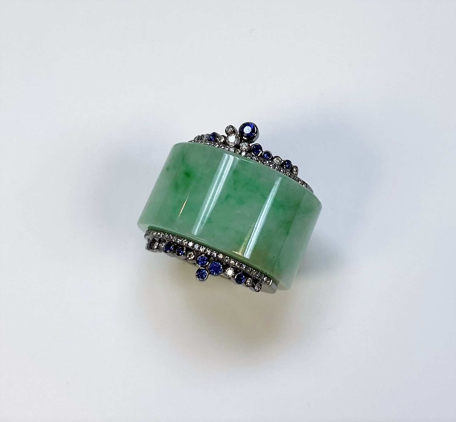Natural Green Jade Ring With Diamonds & Sapphires