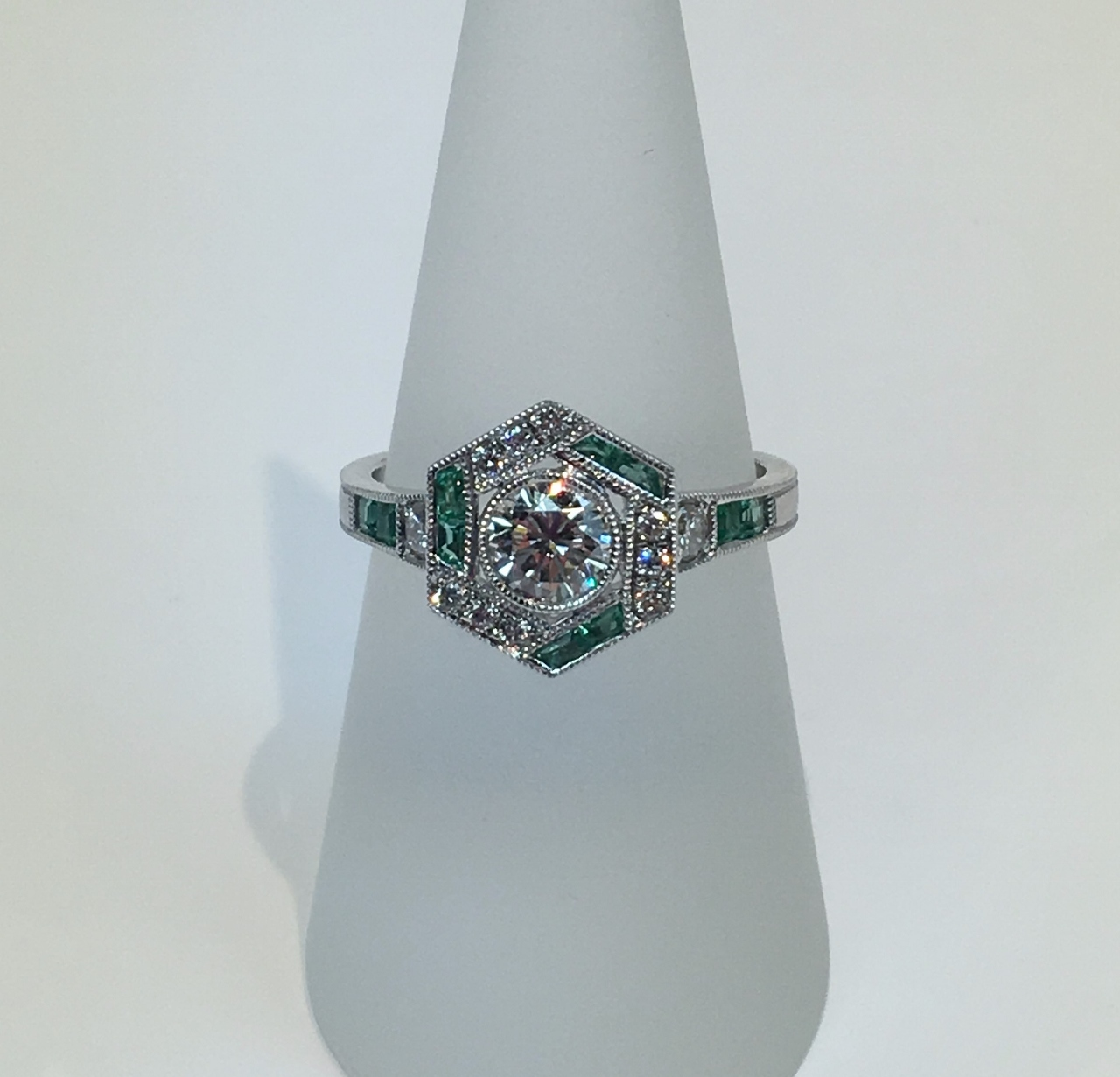 Antique Style Diamond Emerald Ring