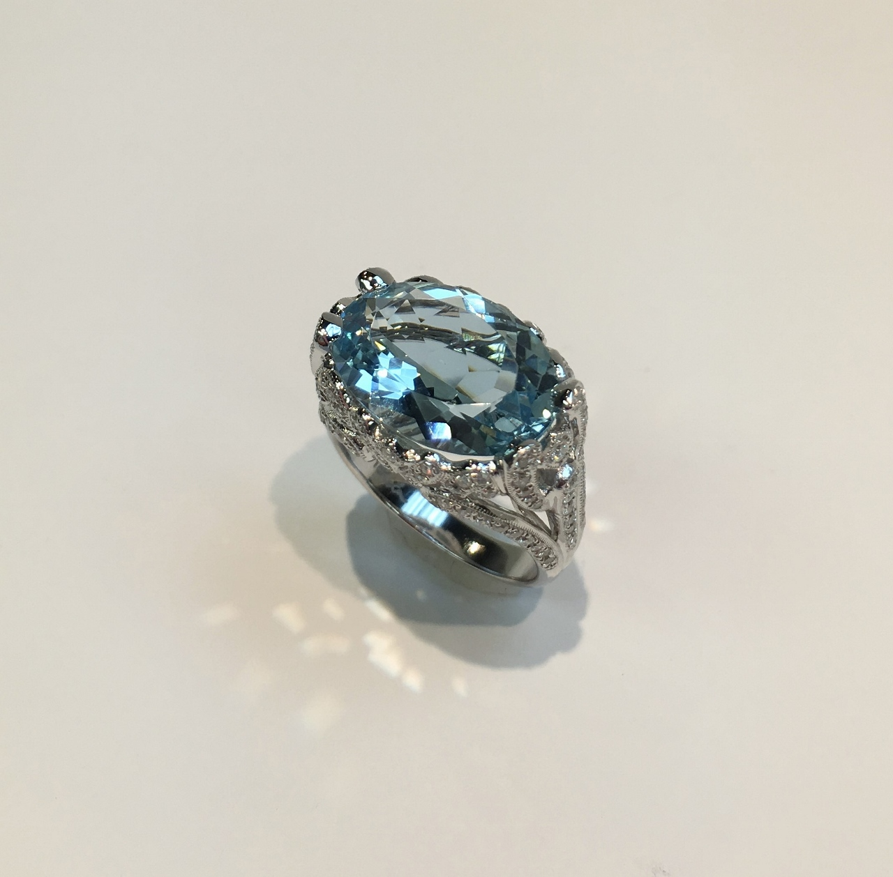 Over 6 Carats Aquamarine And Diamond Ring
