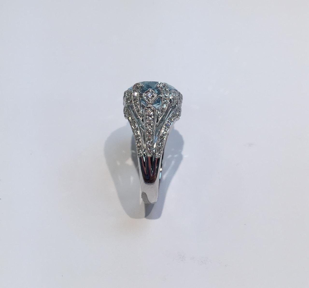 Over 6 Carats Aquamarine And Diamond Ring