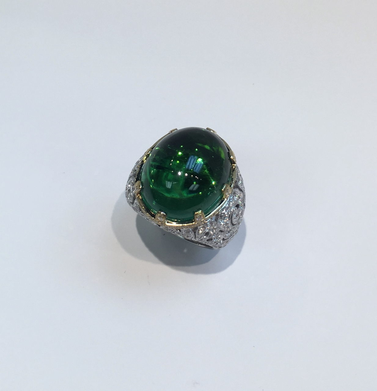 Almost 25 Carats Green Tourmaline And Diamond Ring